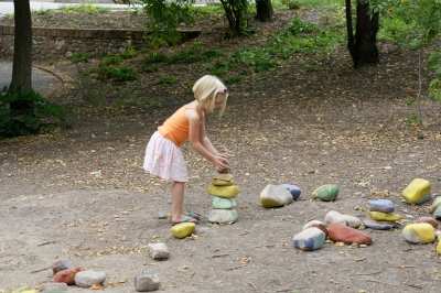Ruby stacking painted rocks