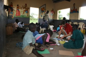 Drawing with the children from Asayo's Wish